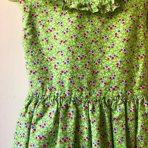 Handcrafted girls Spring dress sz 2T, green flower